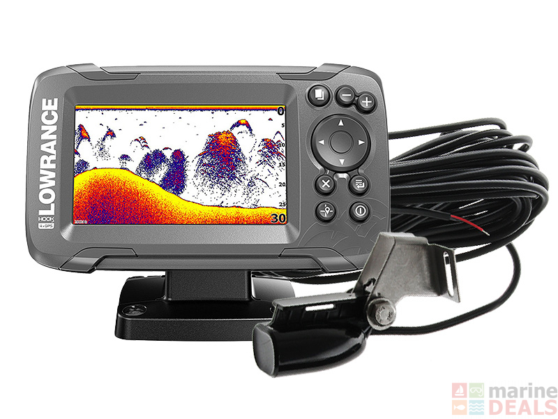 Lowrance Hook2 4x 4 inch Fishfinder GPS Plotter with Bullet Transducer
