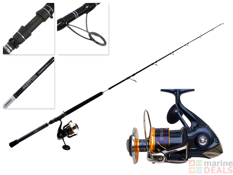 Shimano Stella 20000 SWB PG and Abyss SW Spinning Pitch Bait Combo 6ft 4in  40-100lb 1pc