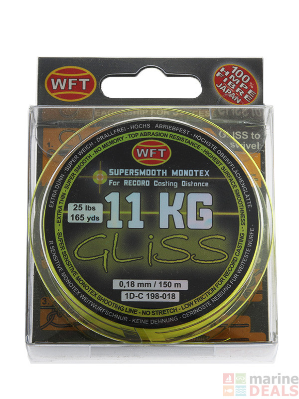 Buy wft gliss hmpe hybrid monotex line yellow online at for Gliss fishing line