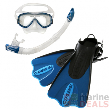 Cressi Palau Dive Mask Snorkel and Fins Set Blue/Azure