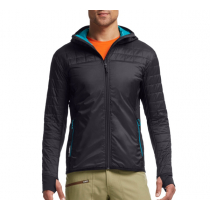 Icebreaker Mens MerinoLOFT Helix Long Sleeve Zip Hood Jacket Carbon/Alpine XL