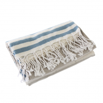 Turkish Hand-loomed Flat-Weave Cotton Beach Towel Navy Blue / Taupe Grey