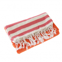 Turkish Hand-loomed Flat-Weave Cotton Beach Towel Tangerine Orange / Red
