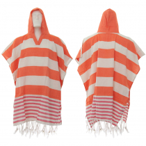 Hand-loomed Cotton Beach Fouta Poncho - Tangerine Orange Red