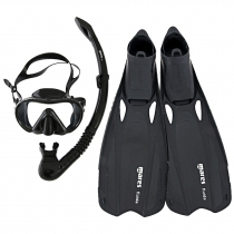 Mares Cobia and Fluida Adult Dive Mask Snorkel and Fins Set Black