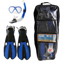 Mares Marlin and Volo Adult Dive Mask Snorkel and Fins Set Blue