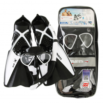 Mares Bonito X-One Adult Dive Mask Snorkel and Fins Set White/Black S/M