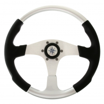 Luisi Evo Marine 2 Steering Wheel Black Crown with Silver Inserts 14.2in