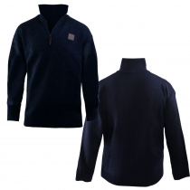 Swanndri Mens Mariner Wool Zip Neck Jersey Navy