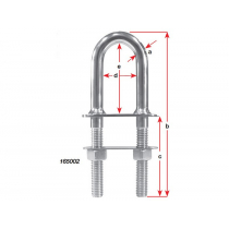 Marine Town Deluxe Bow Stainless U Bolt 3/8 x 76mm