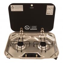 Dometic 2 Burner Gas Stove with Glass Lid
