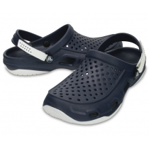 Crocs Mens Swiftwater Deck Clogs Navy/White