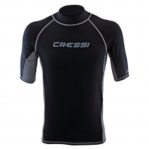 Cressi High-Stretch Mens Short Sleeve Rash Top Black