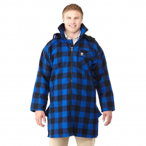 Swanndri Mens Mosgiel Wool Bush Shirt with Zip-up Front Blue Black