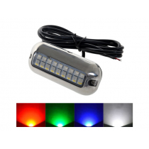 Multi Coloured LED Underwater Light with Stainless Steel Trim Ring 1.2W
