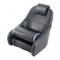 V-Quipment King Helm Seat with Flip-Up Squab Dark Blue with White Seams