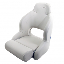 V-Quipment Pilot Sports Helm Seat with Flip Up Squab White