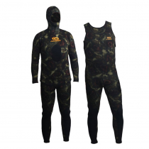 Aropec Open Cell Camouflage Mens Spearfishing Wetsuit 3.5mm 2pc 2XL