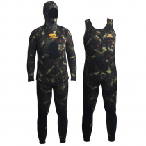 Aropec Open Cell Camouflage Mens Spearfishing Wetsuit 5mm 2pc M