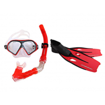 Hammerhead Reef Mask with Snorkel and Fins Set Red X-Small