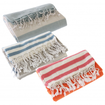 Turkish Hand-loomed Flat-Weave Cotton Beach Towels Set of 3