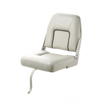 V-Quipment First Mate Deluxe Folding Seat White with Dark Blue Seams