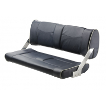 V-Quipment Ferry Bench Seat with Adjustable Backrest Dark Blue with White Seams
