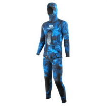 Aropec Mens Camo Blue Hooded Spearfishing Wetsuit 2mm 2pc