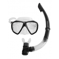 Mirage Carbon Adult Silicone Dive Mask and Snorkel Set Clear