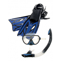 Neptune Aggressor Adult Mask Snorkel Fins Set Blue Small