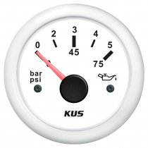 KUS Oil Pressure Gauge Plastic Bezel 0-5bar White