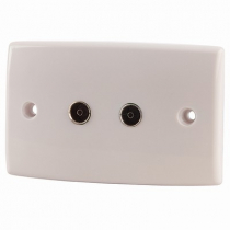 PAL 2 Socket Wallplate - TV & FM