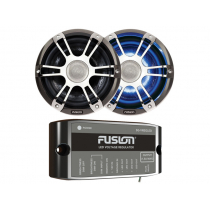 Fusion 2-Way Coaxial Sports Chrome LED Marine Speakers with Regulator 7.7in 280W
