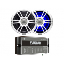Fusion 2-Way Coaxial Sports White LED Marine Speakers with Regulator 7.7'' 280W
