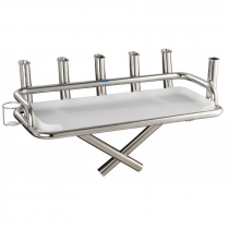 Manta Stainless Steel Large Bait Station with 6 Rod Holders and 1 Can Holder