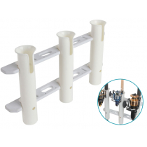 Tasman Heavy Duty Triple Rod Holder with White Socket Faceplate and Trim