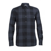 Icebreaker Mens Merino Departure II Long Sleeve Shirt Plaid Black/Stealth XXL