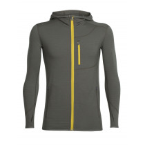 Icebreaker Mens Merino Descender Long Sleeve Zip Hoodie Kona/Sulfur