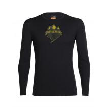 Icebreaker Mens Merino Oasis Long Sleeve Crewe Shirt Ski Crest Black