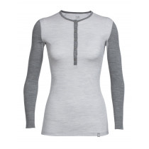 Icebreaker Womens Merino Crush LS Henley Shirt Blizzard Heather/Gritstone Heather