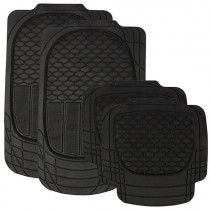 Wildcat Black All Weather Heavy Duty Rubber Floor Mat Set of 4