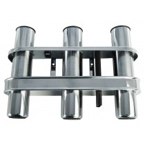 Polished Stainless Triple Rod Holder with Tool Storage