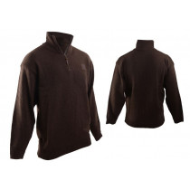 Swanndri Mens Mariner Wool Zip Neck Jersey Brown S