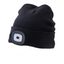 Winter Fishing Beanie with Head Lamp Black