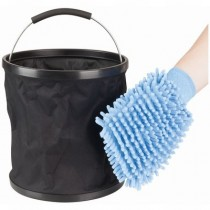 Folding Bucket and Wash Mitt Kit