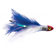 Black Magic Saltwater Chicken Feathered Game Lure Blue/White - Single Hook