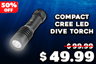 AquaMonde Compact Cree LED Dive Torch 630 Lumens